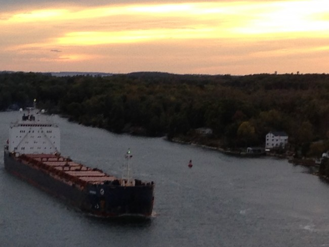 Photo of a freighter at sunset